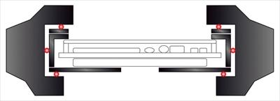 ↑G-SHOCKは5段階の衝撃吸収構造が基本。これに点接触の浮遊構造(赤丸)を加え、モジュールを衝撃から守ります