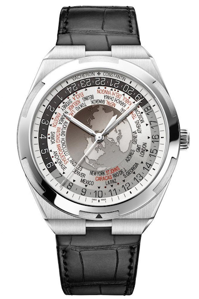 World Time Overseas cadran gris 7700V-110A-B129 bracelet cuir