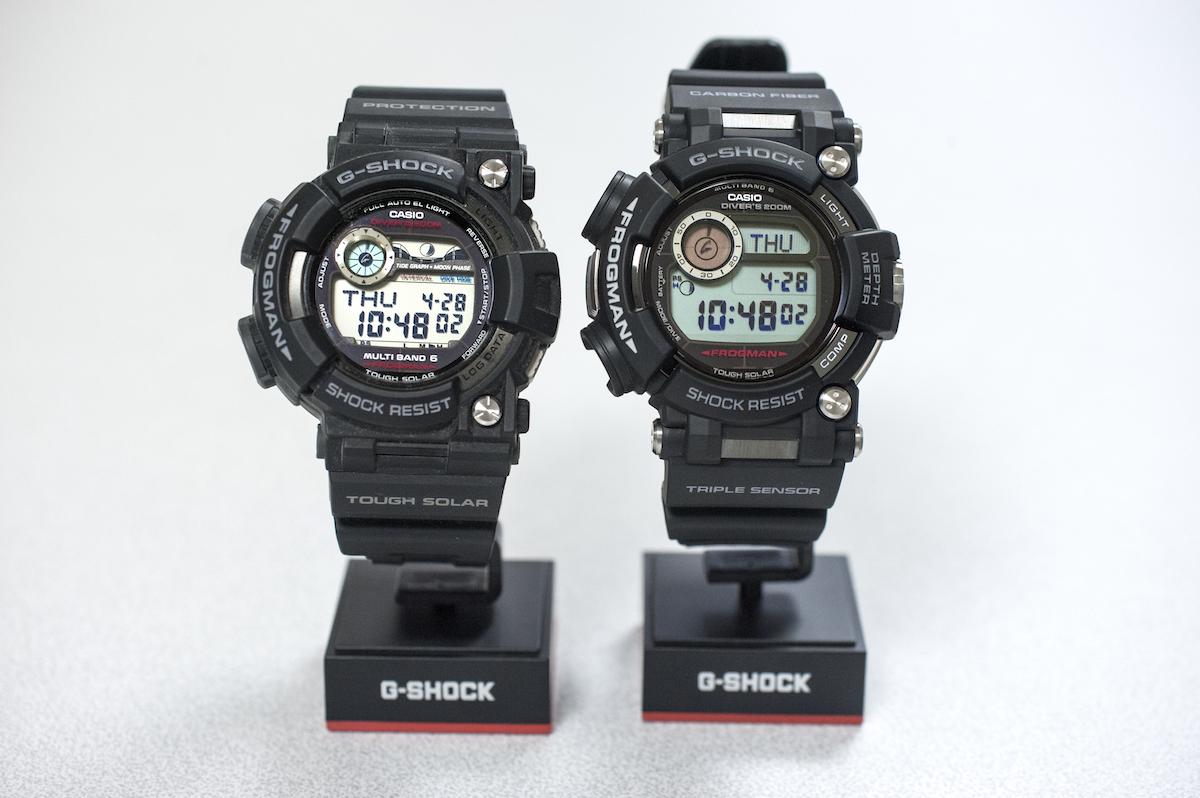 ↑左の旧モデルに対し、右の新型はサイズが大きくなった。液晶も複数の情報を三段で同時表示する方式に変更された