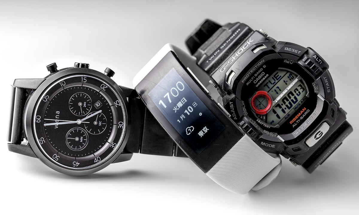 ↑吉田さんが「常に時間表示されるのが気に入っている」と語る、中央・SONYのスマートウォッチ「Smartband talk SWR30」。時間の表示部分は、電子ペーパーになっている。
