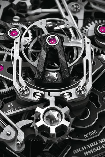 ↑スプリットセコンド クロノグラフを制御するメカニズム。コラムホイールに高さをもたせて、連動する装置が外れないようにするなど、動作の信頼性にも配慮した設計