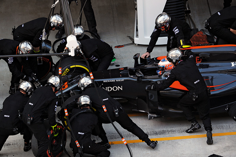 Sochi Autodrom, Sochi, Russia. Sunday 1 May 2016. Jenson Button, McLaren MP4-31 Honda, makes a pit stop during the race. Photo: Steven Tee/McLaren ref: Digital Image _H7I3419