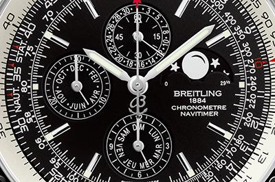 ↑ブライトリングで1461と名のつくモデルはセミ・パーペチュアルカレンダーを搭載する。1461とは、365×4と1日分まで正確なカレンダー表示を表す意味でつけられたもの