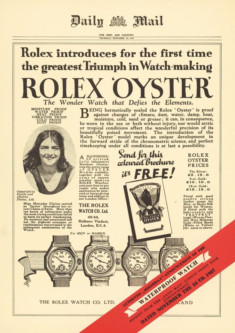 ↑完全密閉の防水ケース「オイスター」の性能を讃えた全面広告。メルセデス・グライツは「私の知る限り、完全に防水で、砂や潮風からもダメージを受けない唯一の時計です」という内容を創業者に送っていたと言われている