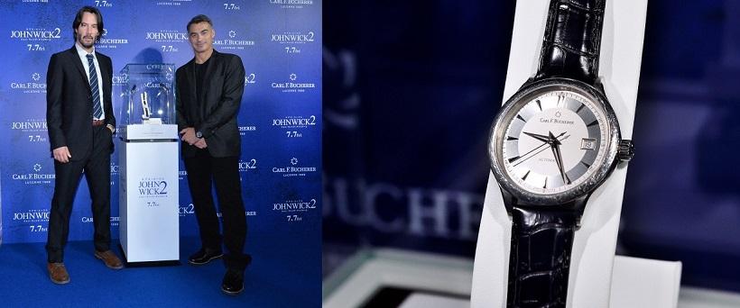 ↑ブルーカーペットイベントでは、撮影中にキアヌが着用した時計も展示。改めてアクションの激しさを物語った