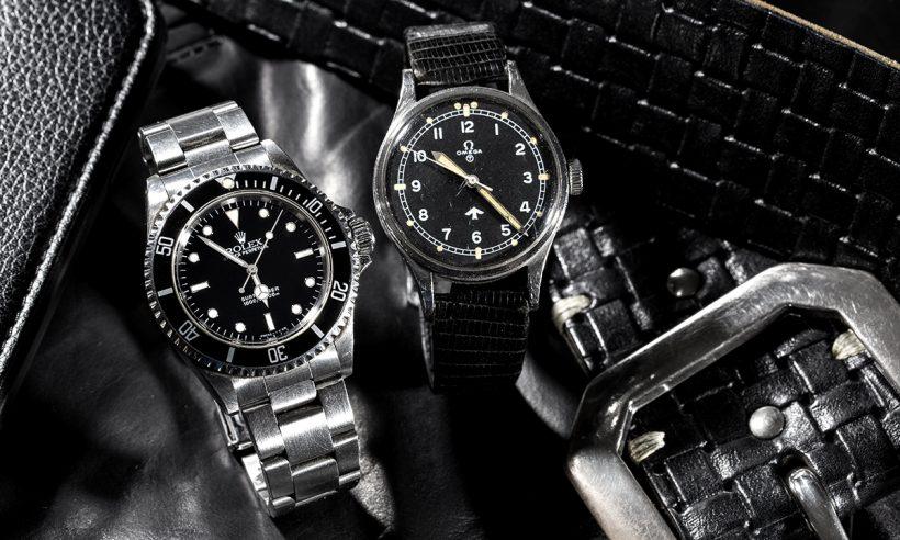 ↑(左)25年以上愛用しているロレックスの腕時計。(右)オメガの腕時計は、初めて英国に行った時に入手した思い出の品