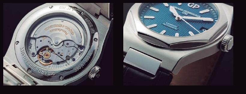 ↑42㎜に拡大したケースに合わせて、パワーリザーブ54時間を誇るインハウス・ムーブメントCal.GP01800を搭載(左)、ラグやループのないブレス一体型ケース の上に、鏡面仕上げの八角形ベゼルがセットされる。これぞロレアートの本質(右)
