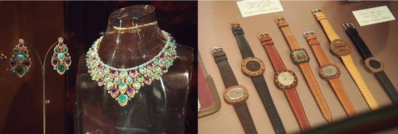 ↑ドムスには、多くのアーカイブを貯蔵。ブランド初期のジュエリーにアール・デコを取り入れたもの(左)や、特徴的なカボションカットを施した色石を用いたもの(右)などからは、デザインの変革が伺える