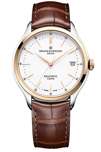 Baume et Mercier Clifton Baumatic 10401 18K steel, leather and red gold