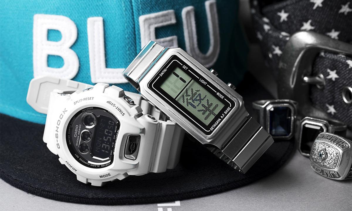 左・仕事の流れでプレゼントしてもらったG-SHOCK。右・所ジョージさんがプロデュースしたDAITAI時計。
