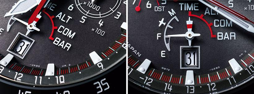 モード針は特殊な形状を採用。この針は国際信号旗を想起させる色使いで、細部にわたってヨットモチーフにこだわった