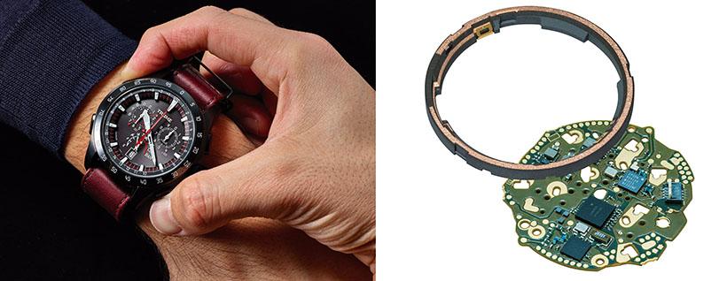 (右)デュアルリングアンテナの利点は受信感度の向上以外にもある。文字盤上でアンテナが重なる面積を減らしたことで、裏面のソーラーパネルで発電する「ライトチャージ機能」の効率を高めた。(左)時刻合わせは「TIME」モードにして10時のボタンを長押しする