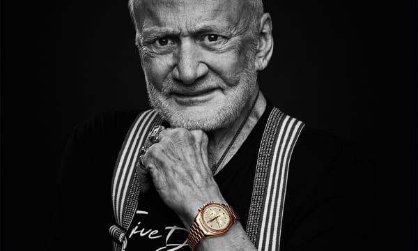 人類初の月面着陸に成功したアポロ11号の宇宙飛行士バズ・オルドリン氏の腕に輝く オメガ「スピードマスター アポロ 11 号 50 周年記念 リミテッドエディション」